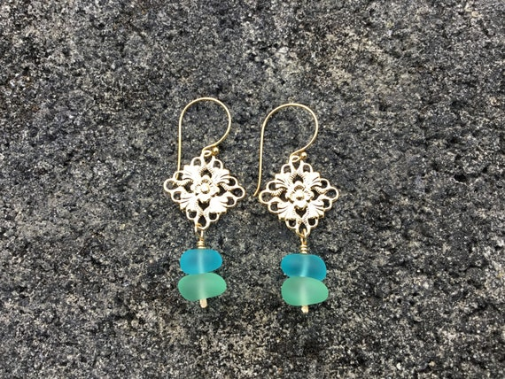 Recycled Aqua Blue, Lime Green Seaglass, 14k Gold Filled Earrings