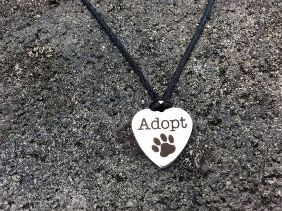 "Hawaiian Puka Shell, Satin Chord,  ""Adopt"" Charm Necklace"