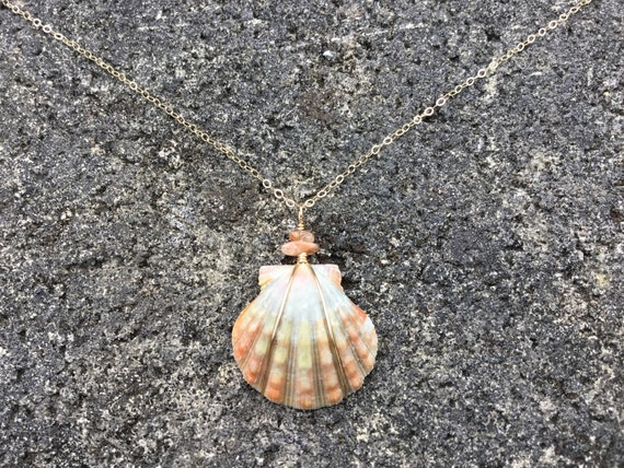 RARE Mint Green Hawaiian Sunrise Shell, Natural Sun Stone Chip, 14k Gold Filled Chain Necklace
