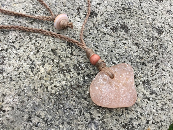 Wooden Bead Hawaiian Puka Shell UNISEX-RARE Pink Surf Tumbled Seaglass Brown Braided Artificial Sinew Cord Necklace