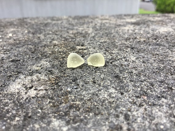 RARE- Yellow Surf Tumbled Seaglass, Hypoallergenic Stainless Steel Stud Earrings