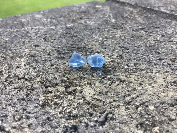 Cornflower Blue Crackled Surf Tumbled Seaglass, Hypoallergenic Stainless Steel Stud Earrings