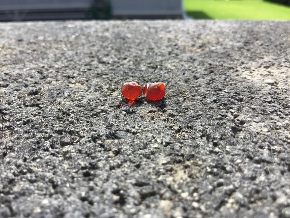 Surf Tumbled, Ruby Red Seaglass Hypoallergenic Stainless Steel Stud Earrings