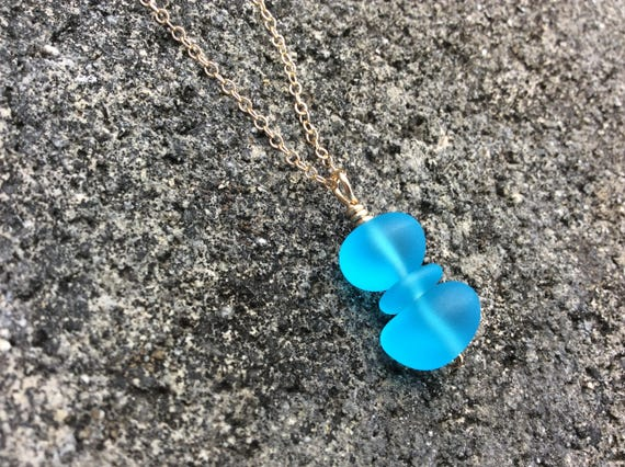 Aqua Blue Recycled Seaglass, 14k Gold Filled Chain Necklace
