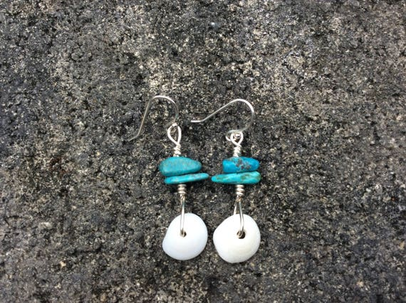 Hawaiian Puka Shell, Blue Turquoise Sterling Silver Earrings