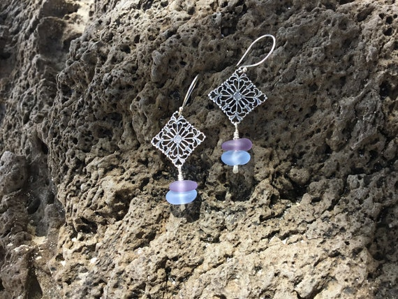Recycled Seaglass, Sterling Silver Earrings