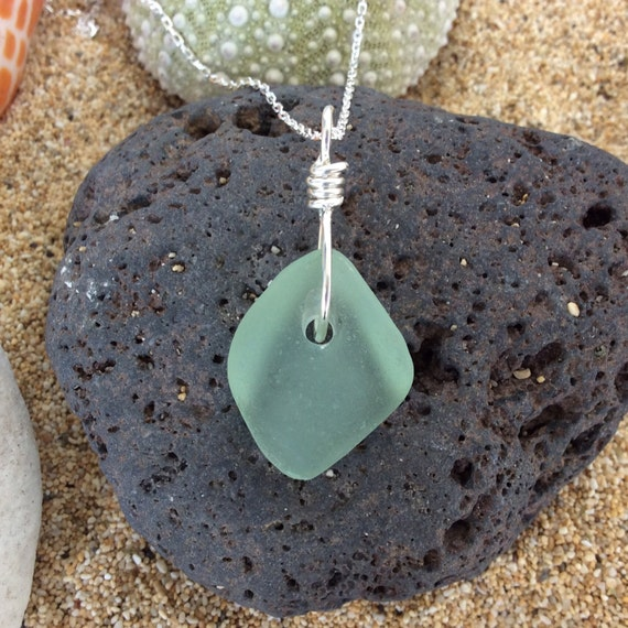 Surf Tumbled, Sea Foam Green Sea Glass, Sterling Silver Diamond cut Chain Necklace