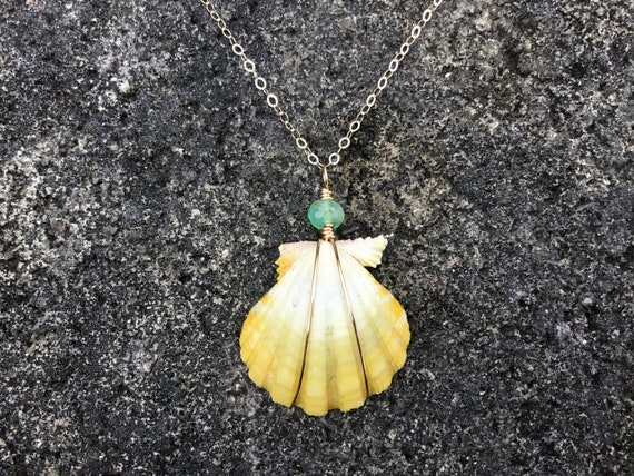 Hawaiian Sunrise Shell, Apple Green Chrysoprase Gemstone, 14k Gold Filled Chain Necklace