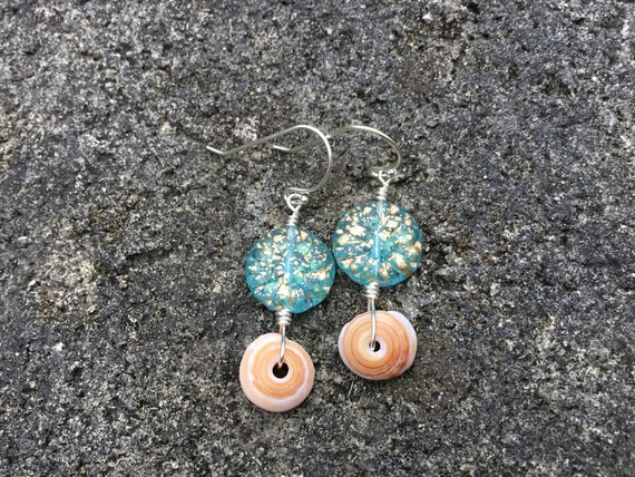 Hawaiian Puka Shell, Aqua Gold Dust Dahlia Flower Czech Glass Bead, Sterling Silver Earrings