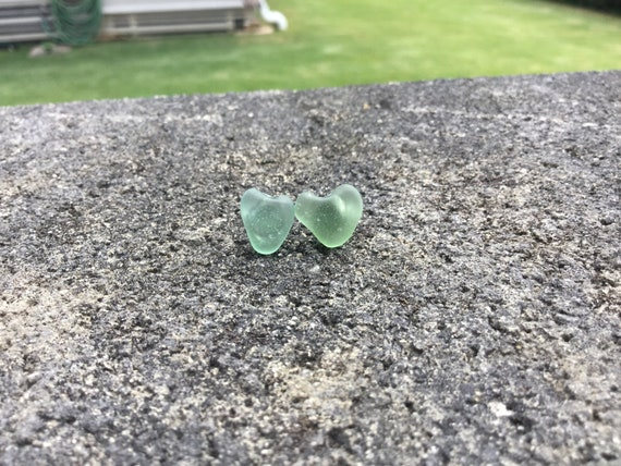 Surf Tumbled, Teal, Heart Shaped Seaglass Hypoallergenic Stainless Steel Stud Earrings