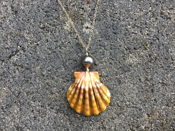 Hawaiian Sunrise Shell, Pink Orange Lava, Black Tahitian Pearl, Wire Wrapped, 14k Gold Filled Chain Necklace