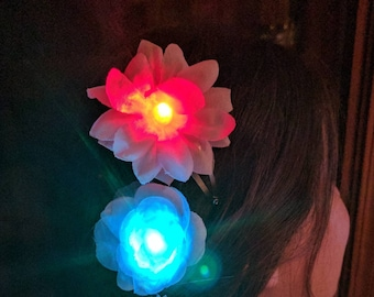 Red Blue Flashing Hair Clip Flower - 4th of July, Patriotic, parade, fireworks, carnival, festival, fairs, night camping, special event