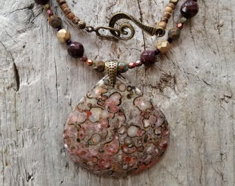 Stunning Lace Jasper Pendant Necklace with Matte Satin Fire Polished Czech Beads
