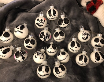 jacknightmare before christmas set of 20 jack skeleton mini glass ornaments