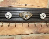 Wall Hanging Jewelry Organizer Rack, Necklace Rack Hanger, Jewelry Rack Hanger, Jewelry Storage, Black Wood with Black Grey Knobs