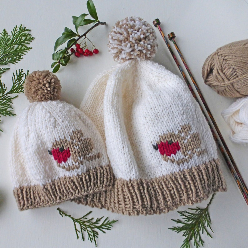 68d655099 Winter Robin Hat KNITTING PATTERN in pdf Baby to adult sizes