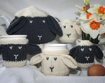 Breakfast Cosies for Ewe! KNITTING PATTERN in PDF | Sheep themed Tea Cosy, Mug Cosy, Cup cosy, Can Cosy and Egg Cosy, Instant download