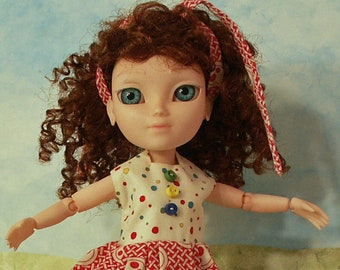 hand knitted dress for Makie Doll Cranberry Red