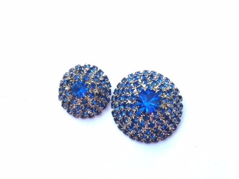 Blue Rhinestone Buttons Set of 2 Domed DIY Sewing Crafting Jewelry Supplies Beading