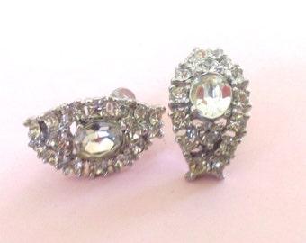 Vintage Rhinestone Screw On Earrings Retro Fashion Mad Men Brides Wedding Jewelry