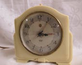 SALE Smiths Sectric art deco Bakelite alarm clock vintage cream coloured electric alarm clock