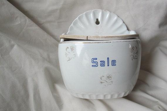 Vintage Italian Salt Box Ceramic Salt Box With Wooden