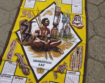 SALE! 1984 Australian Aboriginal Art Tea Towel Calendar / Vintage cotton Australian Tea Towel