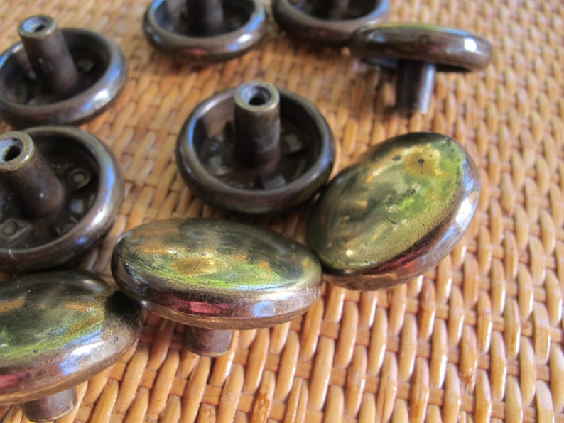 Salvaged antiqued brass finish round knobs round antiqued gold colored knobs  round dresser drawer pull set of 5