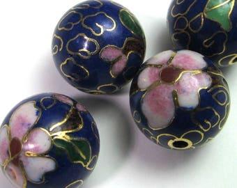 4 Vintage 14mm Cobalt Blue Round Floral Cloisonne Bead Bd1451