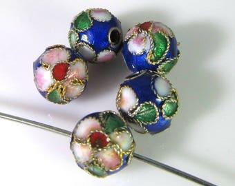 10 Vintage 7.5mm Cobalt Blue Round Floral Cloisonne Bead Bd1483