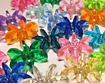 30 Vintage 18mm Multi-Colored Faceted Plastic Transparent Cartwheel Starflake Paddlewheel Beads Bd2201