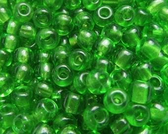 10 Grams Transarent Grass Green French Glass Seed Beads VG342