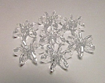 60 Vintage 13mm Clear Faceted Plastic Cartwheel Starflake Paddlewheel Beads Bd2204