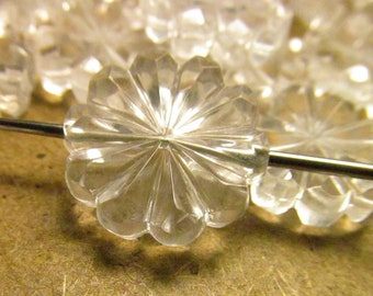 20 Vintage 24mm Transparent Faceted Acrylic Flower Beads Bd1745