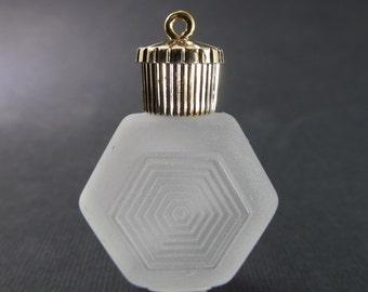 Vintage 38x28mm Matte Hexagon Art Deco Style Acrylic Faux Perfume Bottle Charm Pendant Pd682