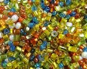 10 Grams Vintage Multi-Color Metallic Italian Glass Tube Bead Mix VG145