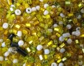 10 Grams Vintage Metallic-Lined Gold Italian Glass Bugle Bead Mix VG132