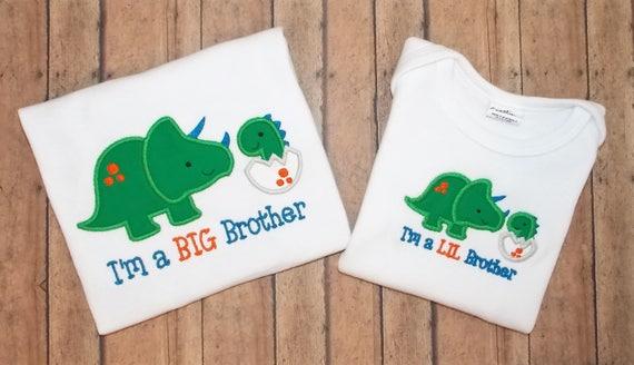 c820ee065d28 Dino Big Bro Lil Bro 2 Shirt Set Embroidered Applique