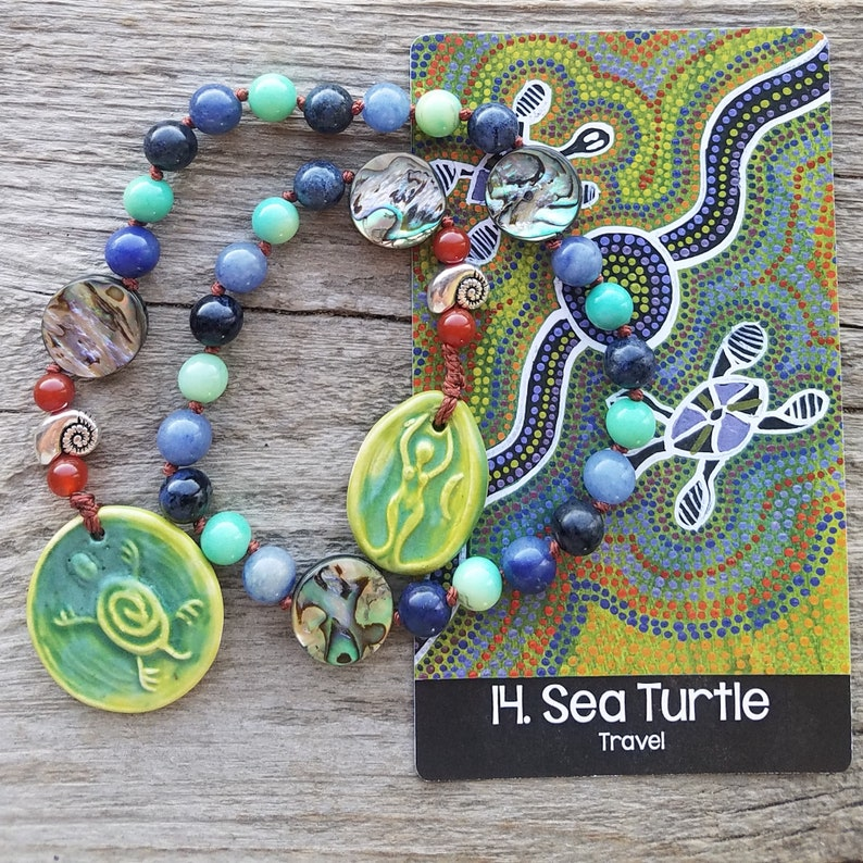 The Traveler Sea Turtle Totem Pagan Prayer Beads, Water Element, Meditation  Beads, Witches Ladder, Witches Rosary, Pagan Rosary