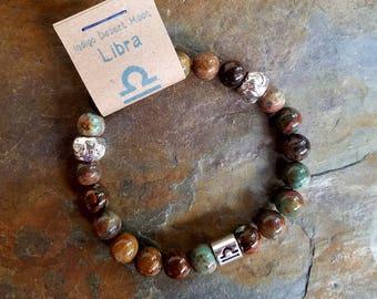 Green Opal Bracelet, Libra Bracelet, Zodiac Bracelet, Astrology Bracelet, Zodiac Jewelry, Green Stone Bracelet, Boho Bracelet