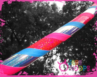 """46"""" - 52"""" Unicorn Sparkle Hula Hoop // Plus Size Weighted Collapsible Travel Beginner Hula Hoop // Pink, Teal, glitter, color shifting"""