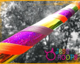 """46"""" - 52"""" Tiger Lily Hula Hoop // Plus Size Weighted Collapsible Travel Beginner Hula Hoop // orange, purple, glitter, color shifting"""