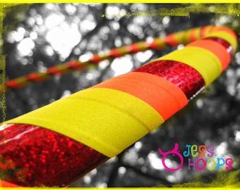 "46"" - 52"" Plus Size Hula Hoop // Sunshine Hula Hoop // Weighted Travel Collapsible Hula Hoop, Beginner Hoop // red, orange, yellow, glitter"
