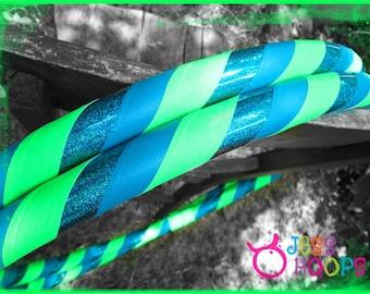 Ocean Water Hula Hoop // Weighted Travel Collapsible Hula Hoop, Beginner Hoop // teal, green, glitter, summer