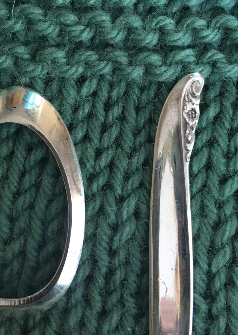 Antique Spoon Shawl Pin Floral Pattern
