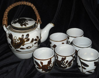 Vintage Japanese Ceramic Teapot with 6 Cups