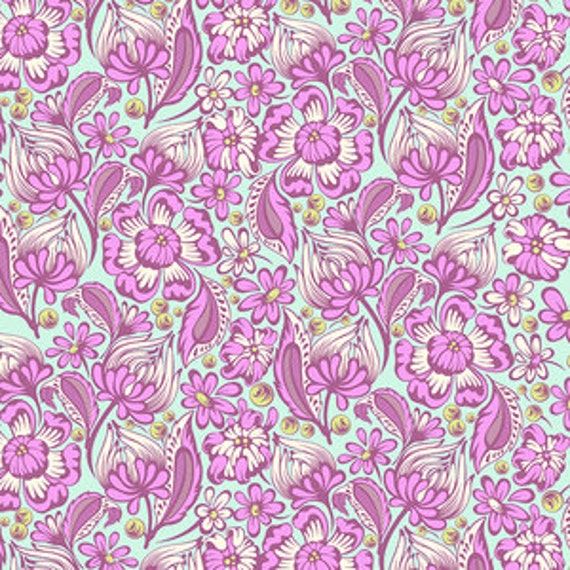 Free Spirit Fabric Tula Pink  Wild vine in Rasberry SALE