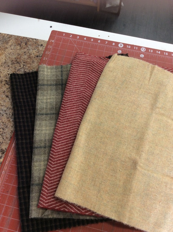 Stack of 4 wool fat quarters Rebecca Erbs