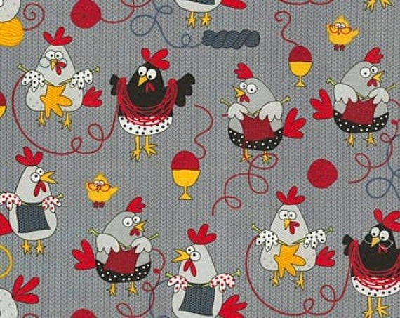 Timeless Treasures Chicken Knitting fabric