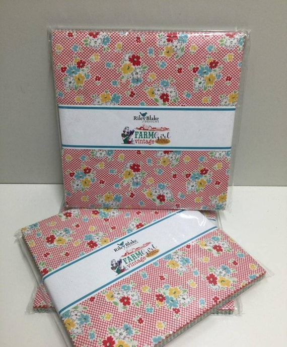 """Lori Holt -- 10"""" stacker Layer Cake Farm Girl Vintage of new cotton quilting fabric for Riley Blake"""